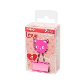 Binder Clips Love Gato Molin 25mm 4 unidades