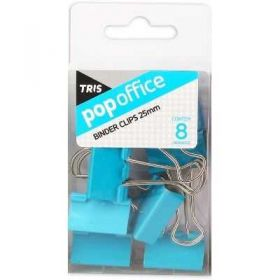 Binder Clips Tris Pop Office - Azul 25mm - 8 Unidades