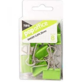 Binder Clips Tris Pop Office - Verde 25mm - 8 Unidades