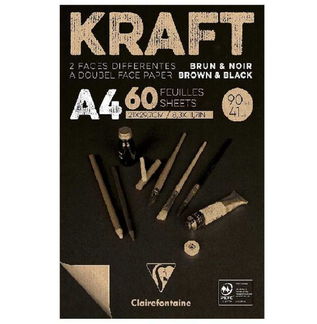 Bloco de Papel Kraft Brown & Black A4 90Gr Clairefontaine 60Fls