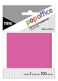 Bloco de Recado Autoadesivo - Tris Pop Office - 7,6x7,6cm Rosa