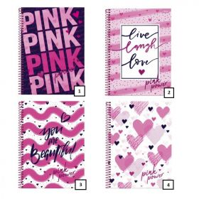Caderno College Pink Power 160 folhas Foroni 316295-7