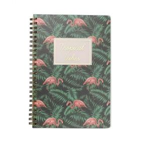 Caderno Espiral Pautado Flamingo Tropical Verde A5 80Fls - Bee Unique