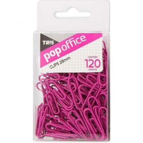 Clips Tris Pop Office - Rosa 28mm - 120 Unidades