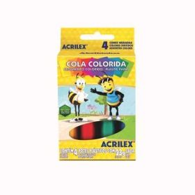 Cola Colorida Acrilex - Com 4 Cores - 23g