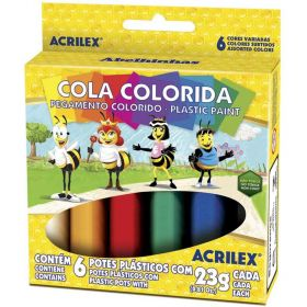 Cola Colorida Acrilex - Com 6 Cores - 23g