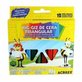 Giz De Cera Acrilex (Triangular Big) - 12 Cores