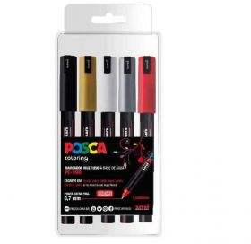Kit Caneta Uni-Ball Posca PC-1MR Extra Fina - Coloring Com 5 Cores