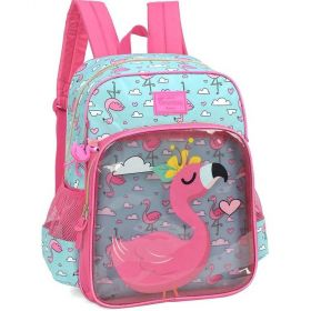 Mochila Escolar Luxcel Up4You Petit Flamingo 3 Bolsos - Verde