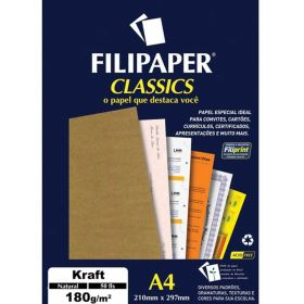 Papel Filipaper Classics Kraft Natural - A4 180g  - 50 folhas