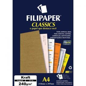 Papel Filipaper Classics Kraft Natural - A4 240g  - 25 folhas