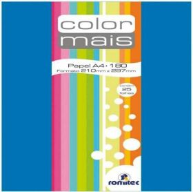 Papel Romitec Color Mais Azul Royal 180g - A4 - 25 Folhas