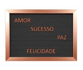 Quadro Letreiro Decorativo 28x40cm Letter Board - Borda Bronze
